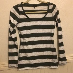 Express Dark Army Green and Lace Striped Top